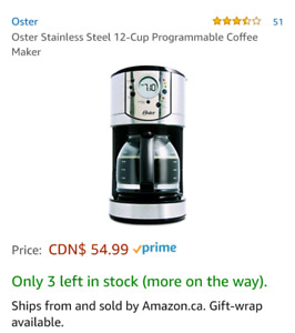 Oster Stainless Steel 12-Cup Programmable Coffee Maker