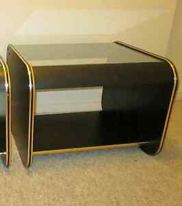 Glass Black/brass End Tables (SOLD) London Ontario image 2