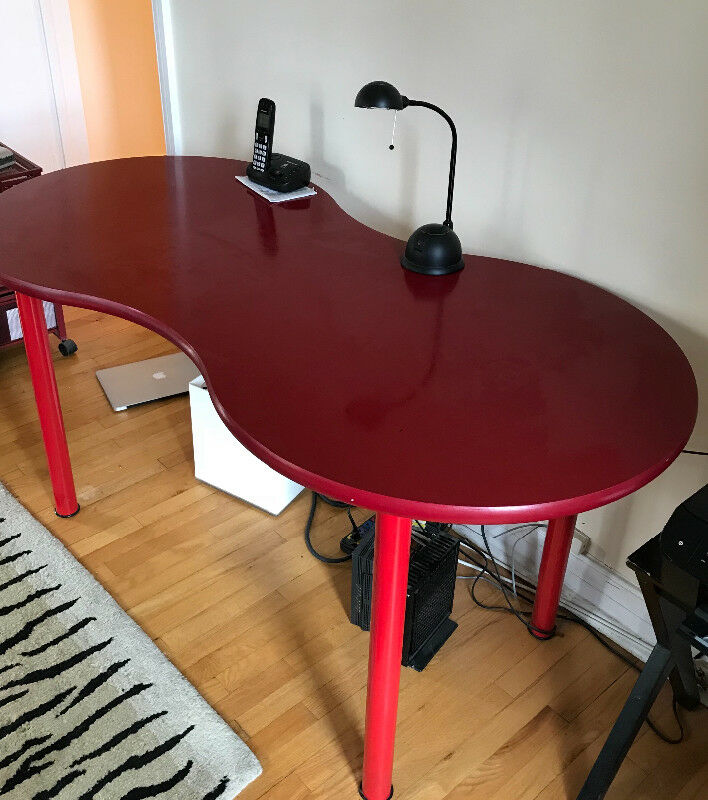 Description Red Ikea Kidney Shaped Desk