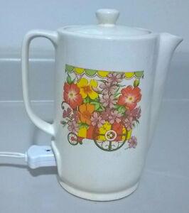 Vintage Japanese Ceramic Electric Coil Hot Water Pot Floral