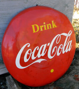 ANTIQUE VINTAGE LARGE COCA-COLA SIGN HEAVY DUTY METAL 47 INCHES