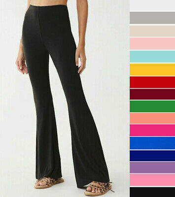 Women's Basic Stretchy Flare Leg Pants Solid Casual High Waist Pull On Yoga Fit Knit Pant Casual Pants