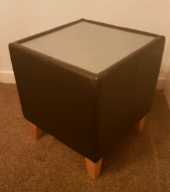 Cube Brown faux leather glass top table