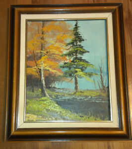 Signed & Framed Oil Painting with a Autumn Trees Theme for Sale
