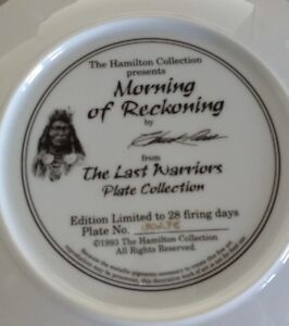 Collector plate from Last Warriors Collection Peterborough Peterborough Area image 2