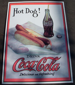 1998 Coca Cola SIGN HOT DOG! 12INCHES BY 17 INCHES