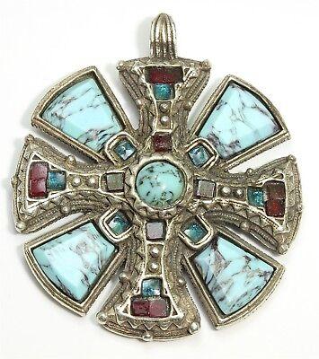 Vintage MIRACLE Britain Scottish Celtic Turquoise Glass Maltese Cross Pendant