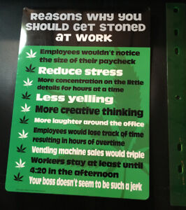 """""""Reasons to get stoned at work"""" Funny Metal Sign Wall Decor 420"""