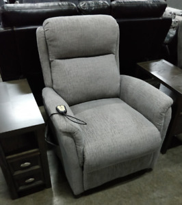 Irving power lift chair, chenille grey fabric, super comfy, NEW