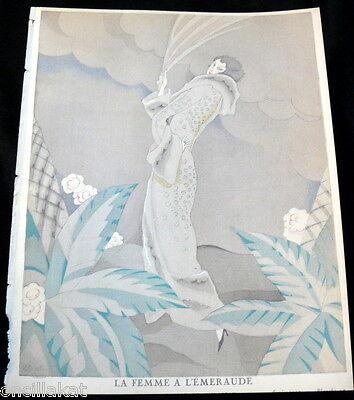 RARE 1920s Art Deco GAZETTE BON TON Pochoir Fashion Print Max-Leroy 1923