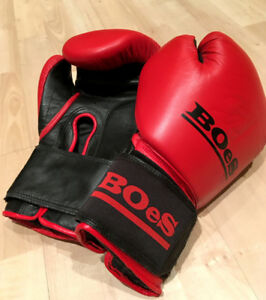Boes Red Boxing Gloves 14oz Genuine Leather
