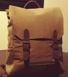 Frank And Oak Canvas & Leather Explorer Backpack - $50