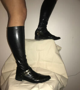 knee high black leather boots women 38 thin