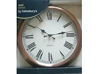 LARGE COPPER LOOK WALL CLOCK