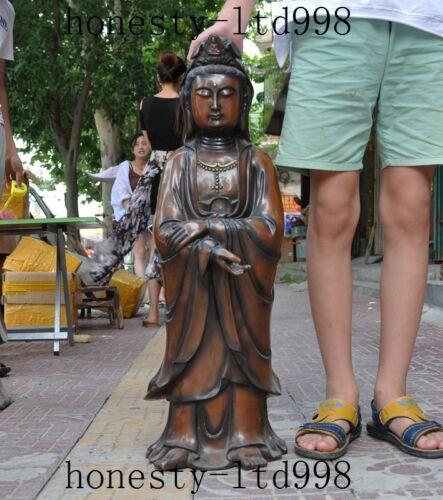 Chinese Buddhism Pure Purple Copper Bodhisattva Kwan-yin Guan Yin Buddha Statue
