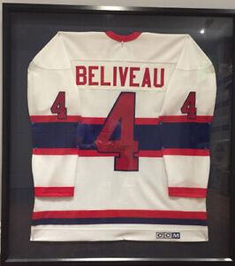 Framed & signed Jean Beliveau Jersey. See our other ads