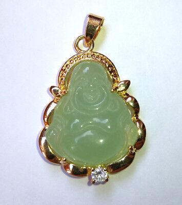 Light Green Jade Pendant (Natural Light Green Jade Buddha 18KGP Men Women Child Pendant Chain Necklace )