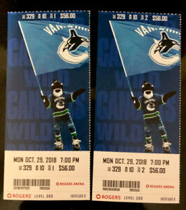 Canucks vs. Minnesota Wild Mon. Oct. 29th - BELOW FACE VALUE!