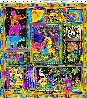 Quilt Fabric Panel - MYTHICAL JUNGLE Panel Laurel Burch Quilt Fabric 23.5