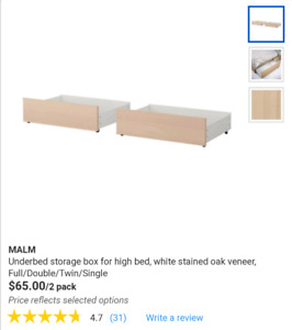 IKEA MALM UNDER BED DRAWERS ( 4 DRAWERS)