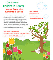 Child Care Spaces Available in Richmond