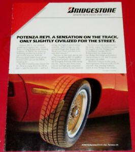 1987 BRIDGESTONE TIRES AD WITH PORSCHE 928 SPORTS CAR - RETRO