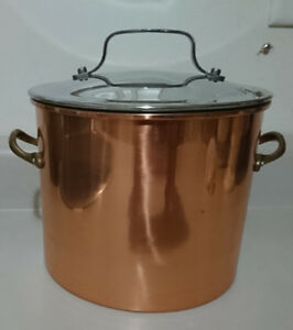 Copper Stock Pot with Non- stick Interior and Brass Handles