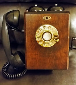 Antique Farm Phone with crank bells, refurbished and working!