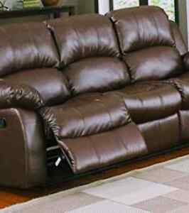 Brown leather reclining sofa and love seat