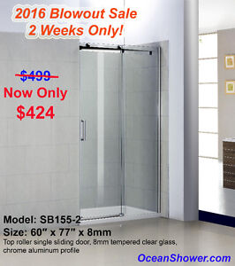Blow Out clearance Tempered Glass Shower Door ends this weekend