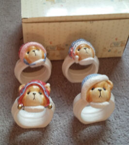 Cherished Teddies Collection Napkin Rings -in box (4)