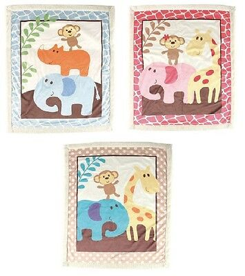 "Soft Animal Safari Sherpa Blanket Baby Girls Boys 30"" x 36"" Luvable Friends"