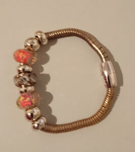 Costume Bracelet with Charms with magnetic latch - on Clip lock
