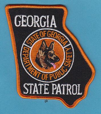 GEORGIA STATE SHAPE K9 DPS STATE PATROL SHOULDER PATCH  (Color)