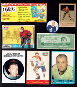 ACHETE CARTES DE SPORT ,HOCKEY , BASEBALL