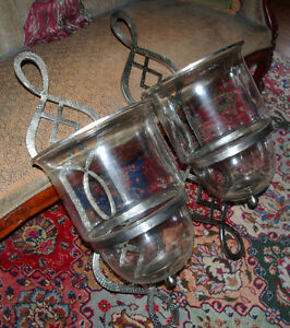 Pair of HUGE Nickel Hurricane Candle Sconces- virgin condition