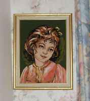 Needlepoint Hand Stitched Picture - Girl with Bow - Wood Frame