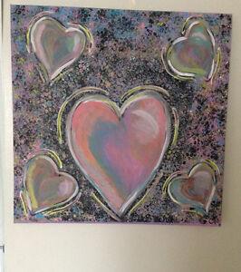 """'Hearts' original acrylic canvas 24""""x24"""""""
