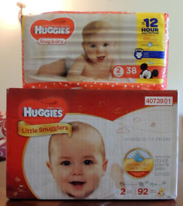130 Huggies Diapers #2 , 2 new boxes, two small for my Baby $30.