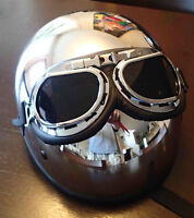 SKID LID ORIGINAL SHORTY HELMET WITH AVIATOR GOGGLES XXL- NEW