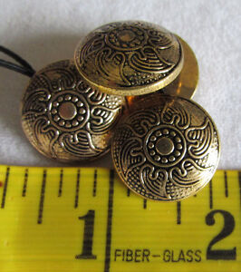 BUTTONS - Gold Textured Sun Pattered Rounded Buttons - 4 buttons