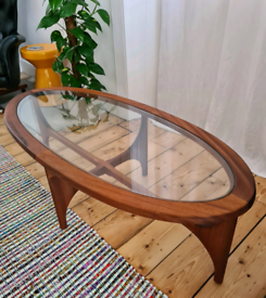 Stateroom oval teak and glass coffee table by Stonehill of London