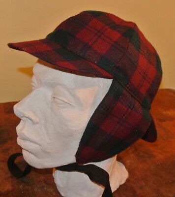 Highland Home Industries Red Wool Plaid Sherlock Holmes Ear Flap Hat Scotland - Sherlock Homes Hat