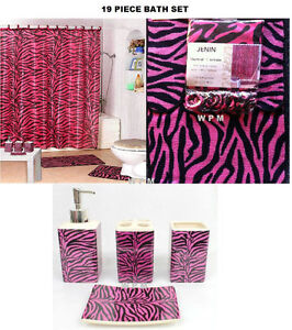 Complete Bath Accessory Set PINK zebra PRINTED bathroom rugs shower curtain