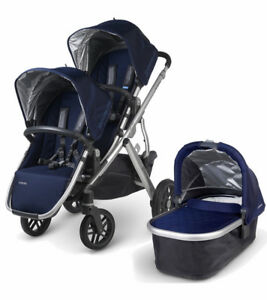 Double UPPAbaby Vista w/ BRAND NEW frame and basket + piggyback