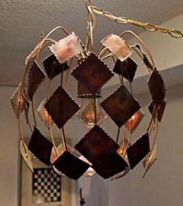 Mid Century Modern 1960's Brutalist C. Jere era Hanging Lamp