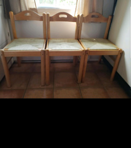 3 DECORATIVE WOODEN CHAIRS WITH WICKER SEATS