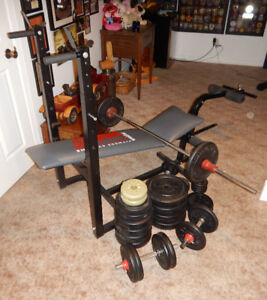 WEIDER Weight Lifting Bench and Weights
