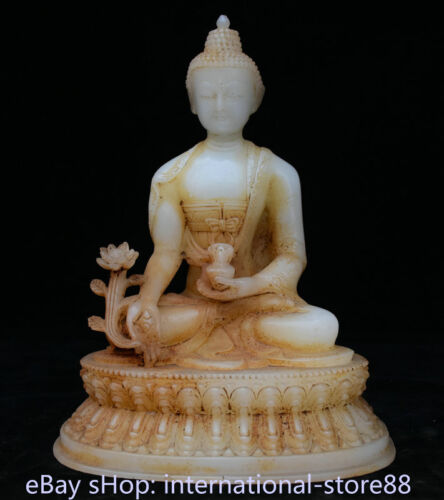"""9.2"""" Old Chinese White Jade Carving Dynasty Menla Medicine Buddha Sculpture"""