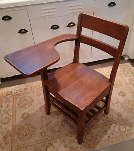 Antique wood school desk/chair combo